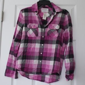 Aeropostale | pink plaid button up